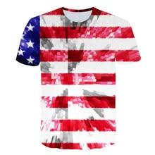 цена на 2019 New USA Flag T-shirt Men / Women Sexy 3d Tshirt Print Striped American Flag Men T-shirt Summer Casual Tops Tees