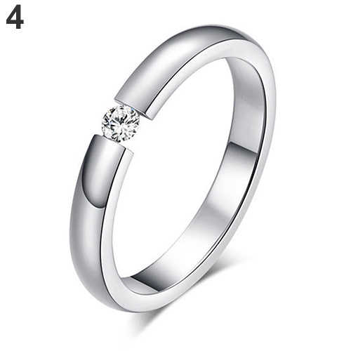 Wanita Titanium Baja Cincin Rhinestone Bertatahkan Wedding Band U.s. Ukuran 6 untuk 12 Wanita Cincin