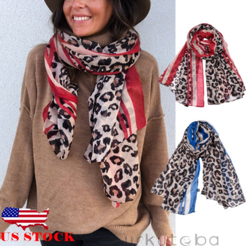 Womens Long Neck Large   Scarf     Wrap   Shawl Fashion Leopard Chiffon Stole   Scarves