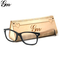GM Bamboo Wood Classic Women Round Eyeglasses PC Frame With Bamboo Legs Optical Glasses Reading Glasses