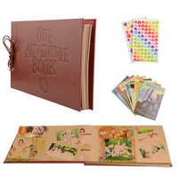 Vintage 80 Seiten Kraft Papier Blätter Karte Set Unsere Mein Abenteuer Buch Album Mit Handmade DIY Werkzeug Foto foto Sammelalbum foto Album