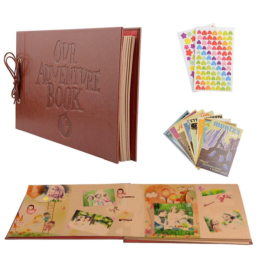 Vintage 80 páginas folhas de papel kraft cartão conjunto nossa aventura livro álbum com artesanal diy ferramenta foto scrapbook álbum de fotos