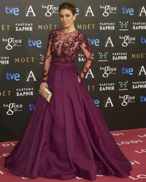 9a4a51aa75146 Goya Cinema Awards 2016 Red Carpet Long Sleeve Celebrity Dresses 2016 Long  Formal Evening Dresses Lace and Satin