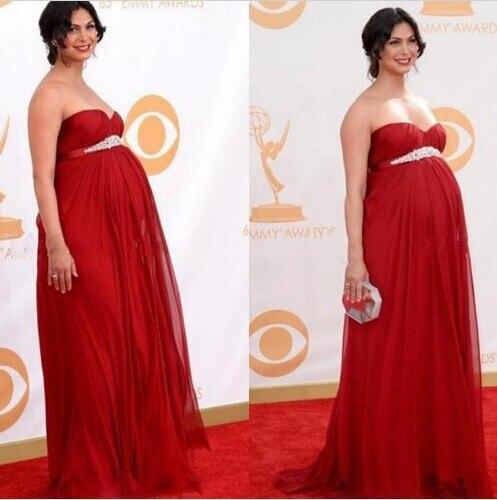 2cb23e52a9b Chiffon Red Sweetheart A LineLong Celebrity Maternity Dresses Beading Sash  Evening Dress Cheap Formal New Design