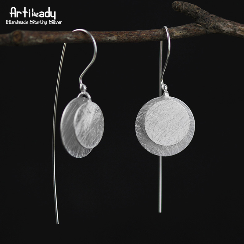 Artilady handmade 925 sterling silver drop earrings exclusive design round earrings for women jewelry party gift mask design drop earrings