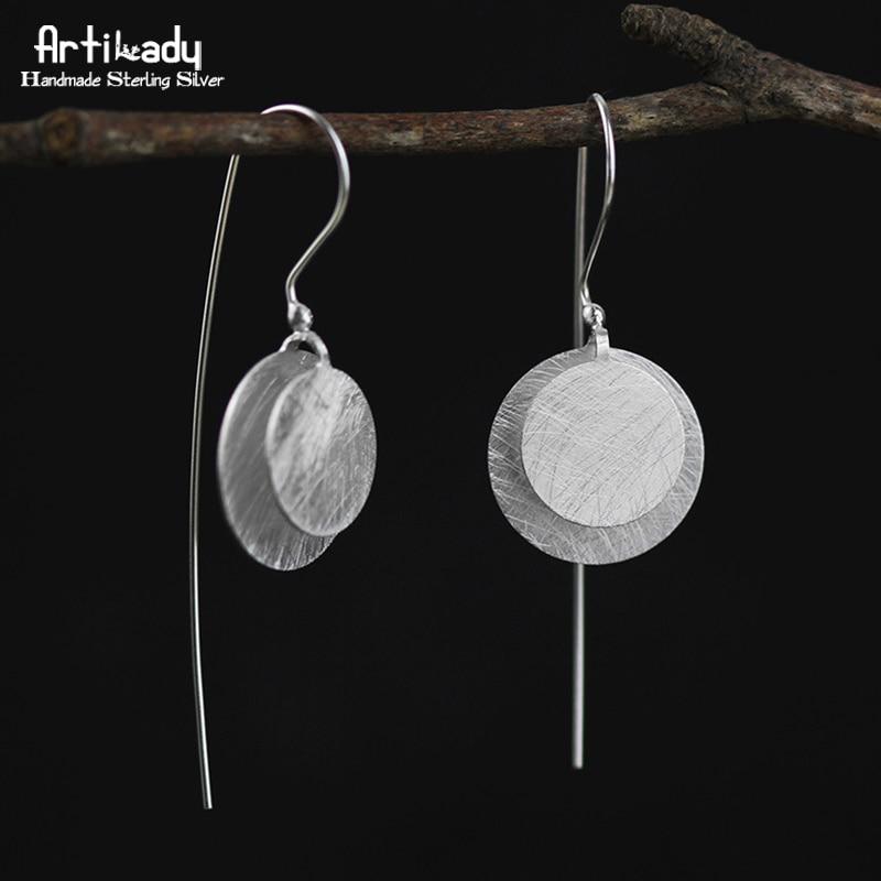 Artilady handmade 925 sterling silver drop earrings exclusive design round earrings for women jewelry party gift rectangle design drop earrings