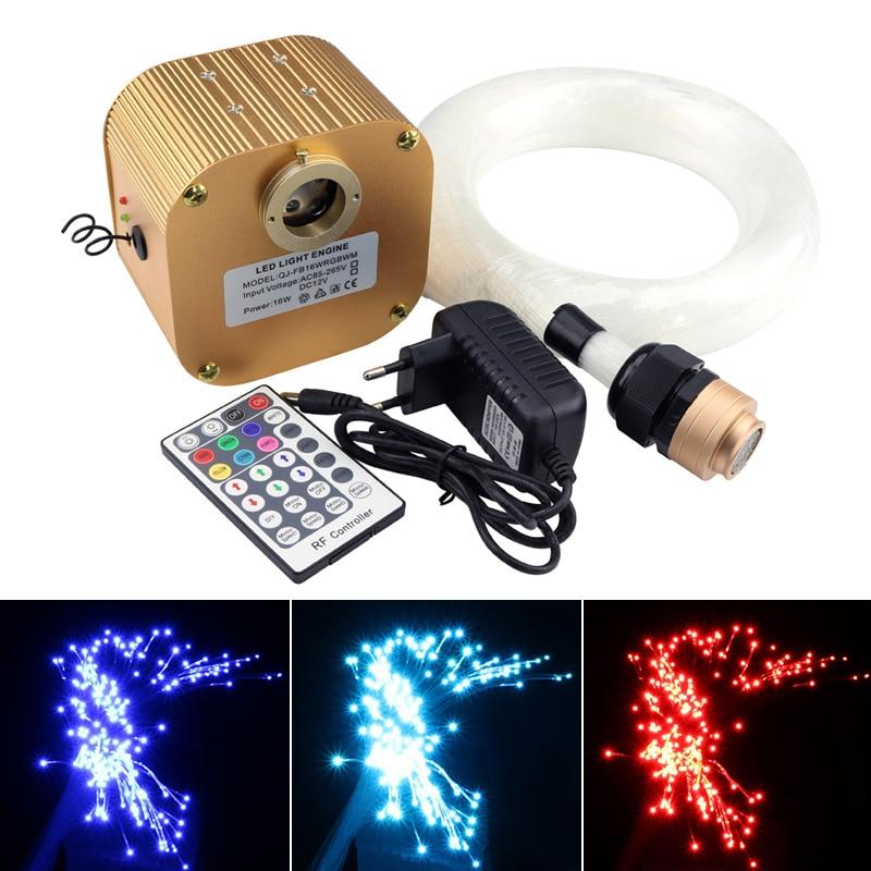 16W Twinkle RGBW LED fiberoptisk stjerne loftssæt blandet 430 stk (0,75 mm + 1 mm + 1,5 mm) * 4M med 28Key RF fjernbetjening + Crystal