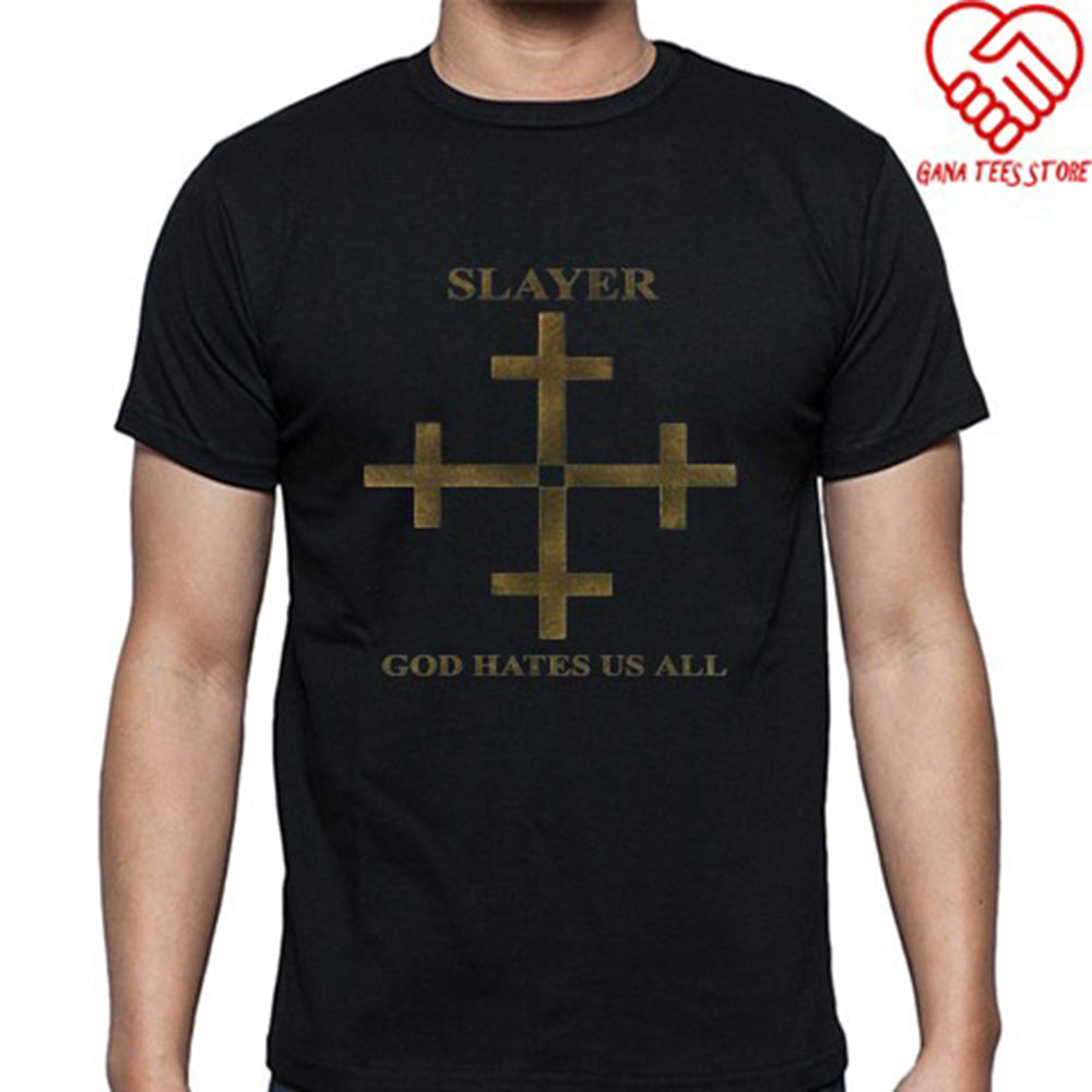 New Slayer God Hates Us All Album Cover Logo Men's Black T-Shirt Size S to 3XL image
