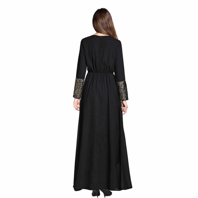 d5180d1d105f0 HANZANGL Spring Autumn 2019 New Muslim Black Frock Women Chiffon Dress  Middle Eastern Arabia Casual Vintage Long Robe Costumes