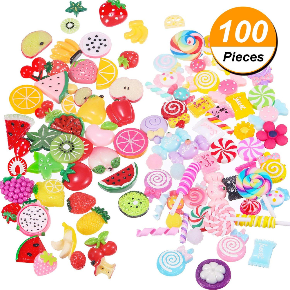 100 Pieces Slime Charms Mixed Fruits and Sweets Candy Slime Beads for DIY Crafts Accessories Scrapbooking