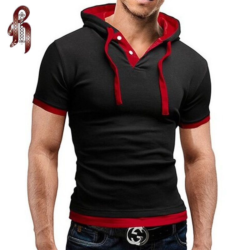 HEYKESON Men'S T Shirt 2017 Summer Fashion Hooded Sling Short-Sleeved Tees Male T-Shirt Slim Male Tops 4XL