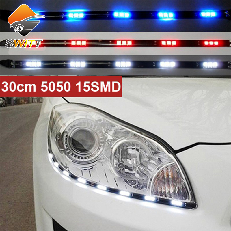 newest 2pcs x 30cm 5050 15 smd drl parking light led car styling flexible led daytime running. Black Bedroom Furniture Sets. Home Design Ideas