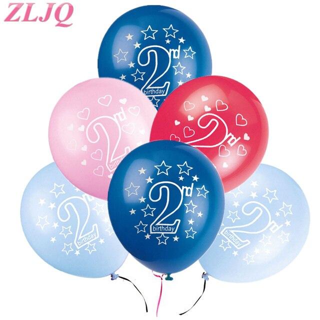 Zljq 10 Stucke Blau 2nd Geburtstag Dekoration Rosa 2 Geburtstag