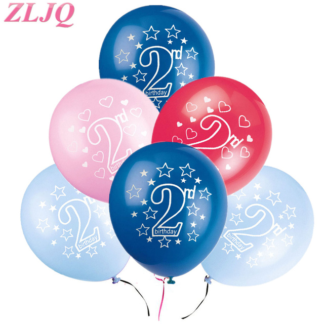 ZLJQ 10pcs Blue 2nd Birthday Decoration Pink 2 Balloons Number Balloon Year Old Kids Boy Girl