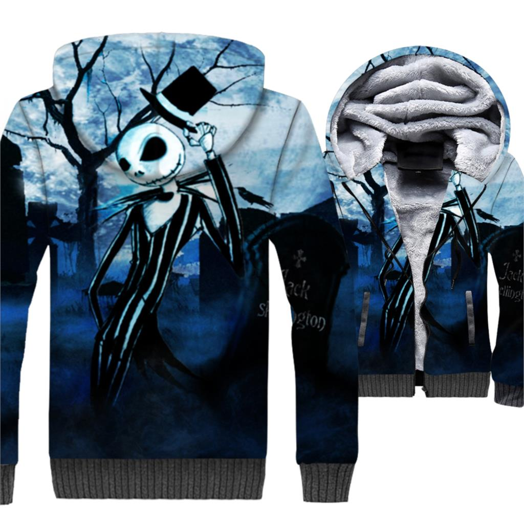 New Arrival Fleece Warm Hoody All Saints' Day Skull Printed Fashion Sweatshirts Men Streetwear Hip Hop Coats Harajuku Hot 3D