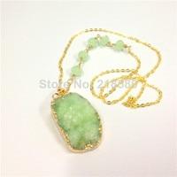 H-qn1127 Druzy bijoux Lime cristal vert Druzy Cluster pendentif collier avec une chaîne de chapelet