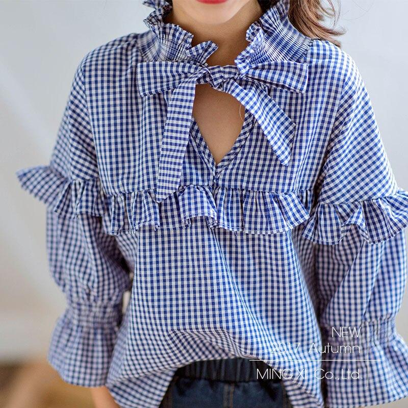SexeMara Girls Clothing 2017 Fall New Long Sleeve Shirt Children Blue Lattice Sweet Blouse Girl Shirt