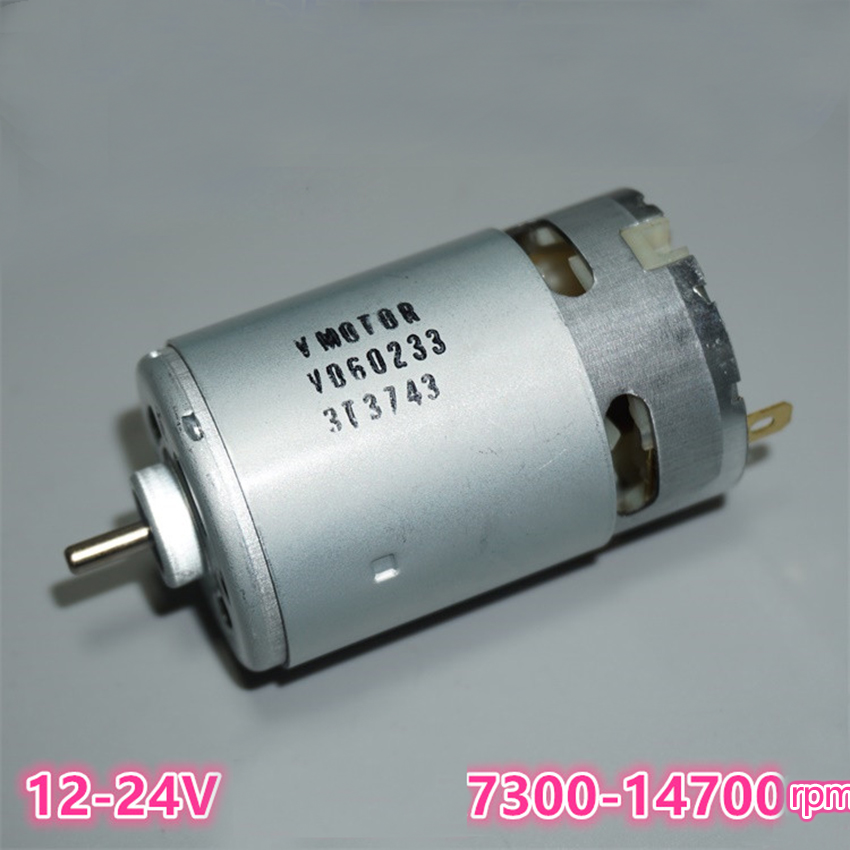 555 DC Motor 12-24V No-load speed 7300-1700rpm large torque Drill & Ball Bearing & Screwdriver Tool Motor
