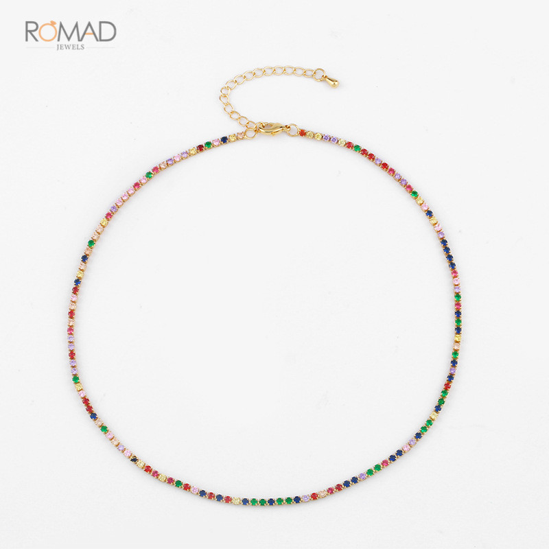 Romad Gold Color Necklace With Rainbow CZ Chain Colorful Charm Choker Tiny Link Jewelry For Women Girl W3
