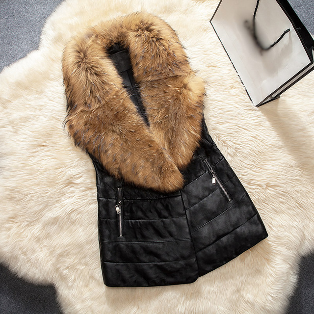 Plus Size 3XL Women Leather Vest Faux Fur Collar Waistcoats Long Sleeveless 2016 New Winter Jackets Coats Pocket Colete Feminino