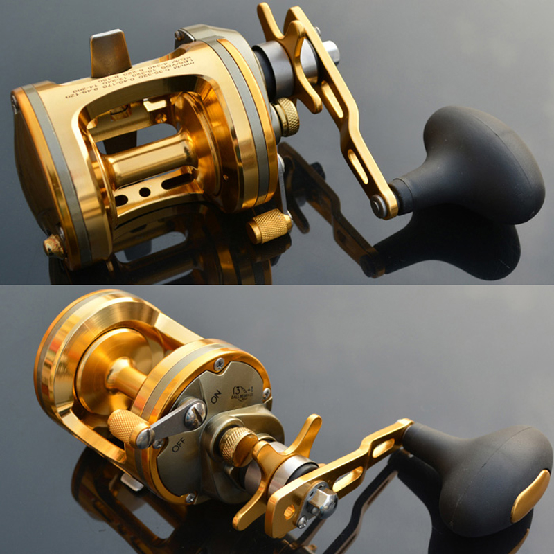 ACT321 ACT331 ACT341 ACT351--4BB Trolling Fishing Reel Saltwater Baitcasting Reels Pesca Boat Reel Carp Drum Wheel metal round jigging reel 6 1 bearing saltwater trolling drum reels right hand fishing sea coil baitcasting reel