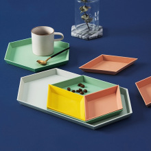 4 Pcs Nordic Geometric Polygon Storage Trays Desktop Combination PP Tray Tea Fruit Plate Decorative Home Organizer