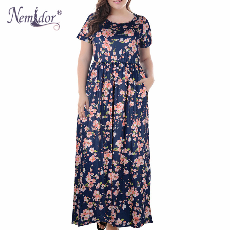 Nemidor 2018 Hot Sales Women O-neck Short Sleeve Long Summer Casual Dress Plus Size 7XL 8XL 9XL Vintage Maxi Dress With Pockets  3