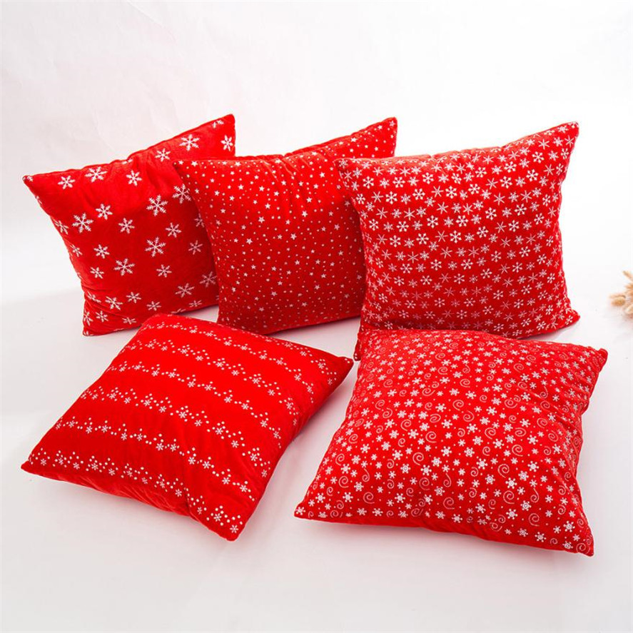 07778c215de Nueva funda de cojín rojo 43*43 cm 1 pieza almohada de terciopelo Super  suave sofá cintura tiro almohada cubierta hogar fundas de cojín de  decoración ...