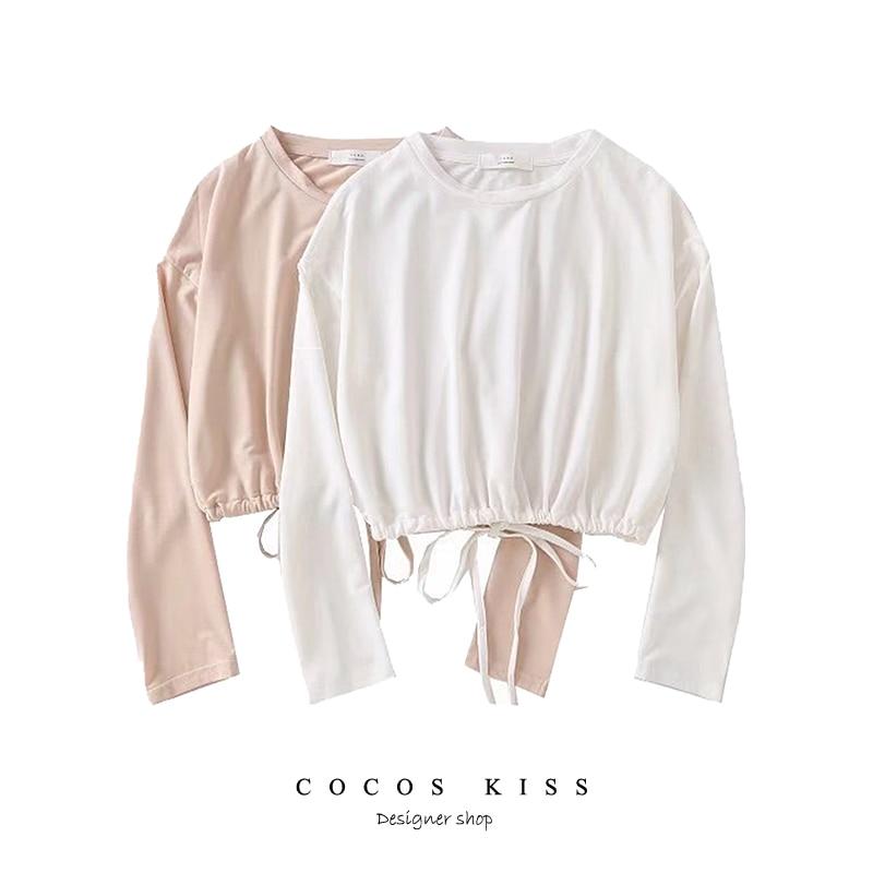 2018 New Solid midriff-baring Tie Hoodies Sweatshirts Crew neck Women Clothing Loose Short Fleece Sweatshirts