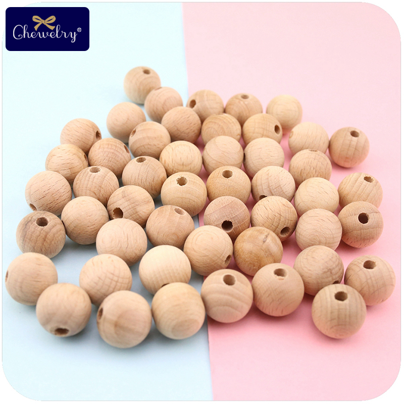 Baby Wooden Beads 8-20mm Diy Pacifier Clip Chain Bpa Free Beech Bead Teething Baby Teether Nursing Necklace Children'S Goods Toy