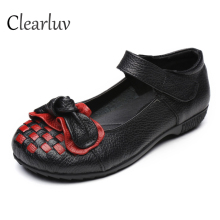 Chinese fashion style 100% leather womens shoes flat hand-woven non-slip casual mother C0680