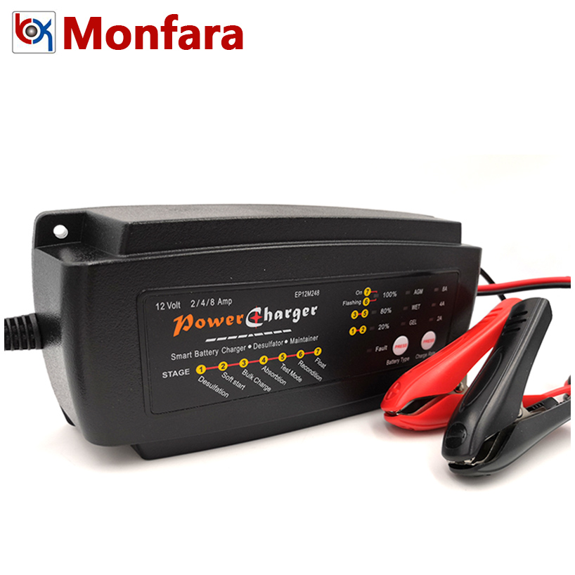 12V 2A 4A 8A Automatic Battery Charger for Car Motorcycle ATV Vehicles Dune Buggy Motorboat Lead