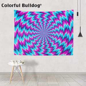 Image 1 - פסיכודלית שטיח גיאומטרי גל זגזג קיר תלוי אתני היפי דקור בית חווה כתום סגול אתני כחול ורוד שמיכה