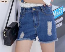 Оптовая моды творческие женские джинсовые шорты отверстие летом новой Корейской версии заусенцев Тонкие шорты женские