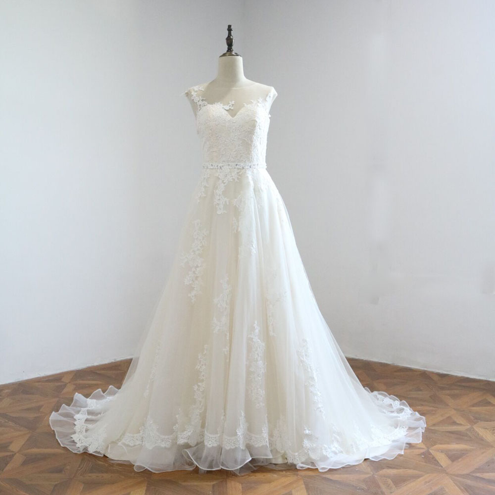 Champagne Color Wedding Dresses Vestidos De Noiva 2017: 2017 A Line Rendas Vestido De Noiva Champagne Lace Dress