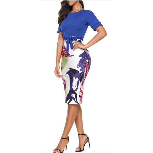 Professional Women Elegant Casual Work Business Office Classic O neck Neck belt Printing Patchwork Bodycon Pencil Dress
