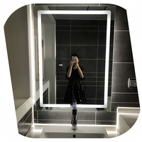 Led Backlit Bathroom Mirror Square Wall Mount Bathroom Finger Touch Light Mirror Bath Mirrors Vertical plane Box Diffusers
