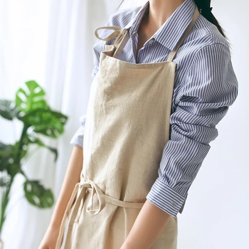Nordic Temperament Simple Florist Apron Cotton Linen Coffee shops kitchen Aprons For Cooking Baking Restaurant Extra Large Apron fashion brief nordic wind pleated skirt cotton linen chef apron coffee shops and flower shops work clothes women cleaning aprons