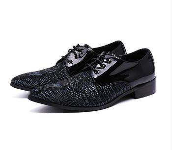Pointed Toe Patent Leather Oxford Shoes Men Breathable Formal Shoes For Men Dress Shoes Business size 46 47