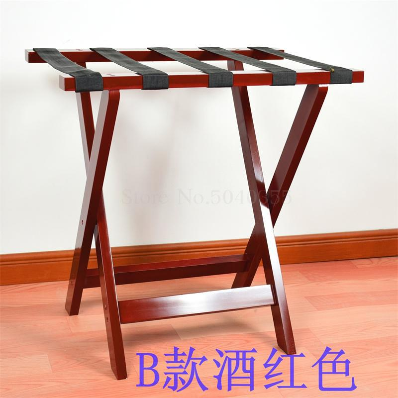 Solid wood luggage rack hotel floor folding racks home bedroom put sleep clothes simple shelves - Цвет: VIP 4