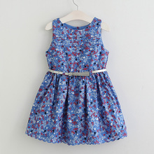 Hurave New Fashion Girls Baby Belt Girls Dress Children Floarl Cotton Sleeveless Dresses For Infantil Kids Clothes