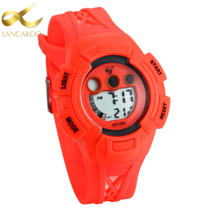 Lancardo Digital LED Children Watch Waterproof Red Color Girls Boys Clock Sports NEW Watches Fashion Student Wristwatches
