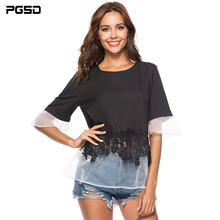 PGSD 2019 Summer big size Loose solid Tee Short sleeve O-Neck screen lace edge Spliced Plus T-shirt female Fashion women clothes цена 2017