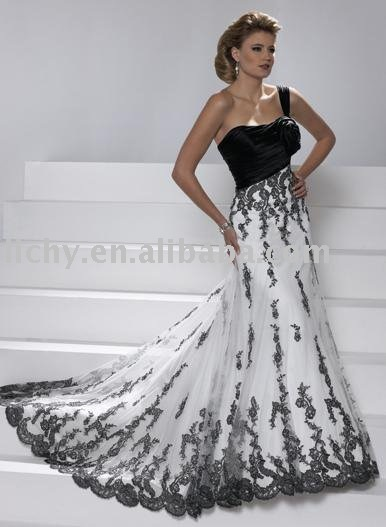 sell ocean black one-shoulder bridal wedding gowns in free shipping accept   ly0614