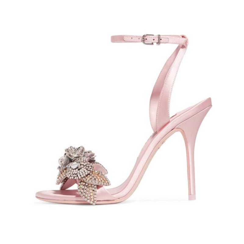 Lovely Pink bling bling crystal party wedding shoes women ankle strap high heels gladiator sandals sexy open toe stiletto pumps