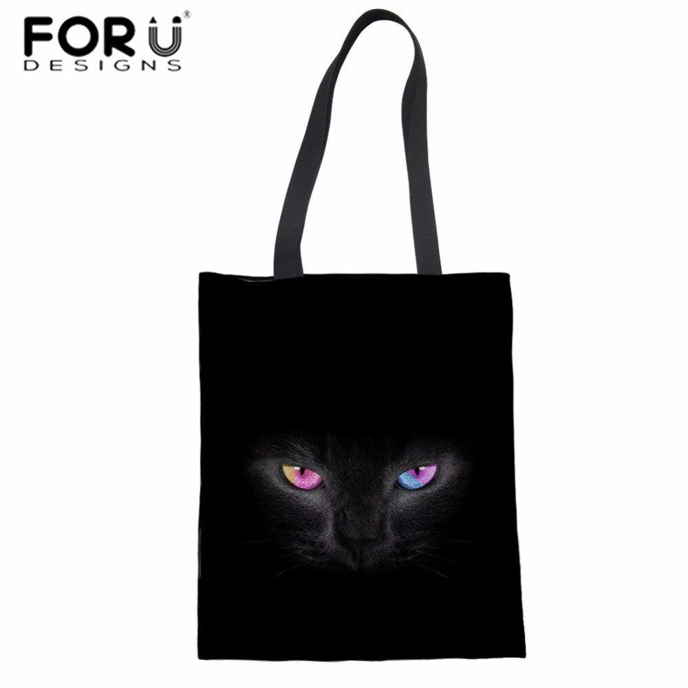 FORUDESIGNS Women Top-handle Bag Black Cat Eyes Print Canvas Shoulder Bag for Teenager Girls Large Tote Bag Fashion Beach Bolsa