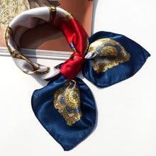 50*50 Многофункциональный шелковый шарф женский модный Печатный шарф галстук для волос цветок леопардовая полосатая лента головной убор Ретро шейный платок