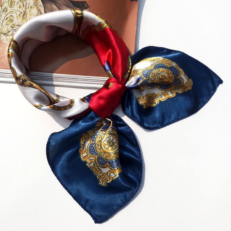 50*50 Multifunction Silk Scarf women fashion Printed Scarves Hair Tie Flower Leopard Striped Ribbon Headwear Retro Neckerchief(China)