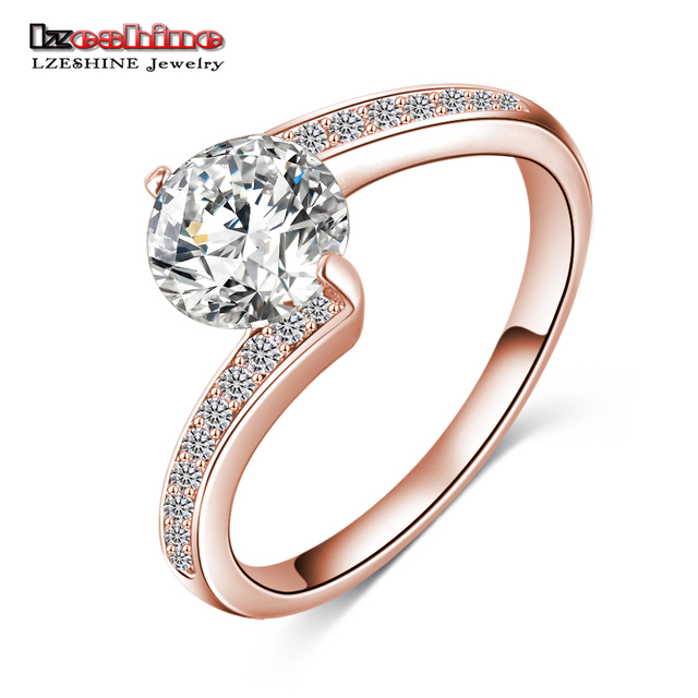 LZESHINE 2017 Fashionable Finger Rings Silver ColorRose Gold Color