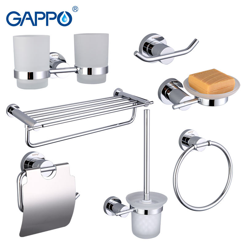 Gappo 7PC/Set Bathroom Accessories Soap Dish Toothbrush Holder Toilet holder Towel Bar Glass shelf Bath Hardware Sets G18T7 chrome hardware bathroom accessories brass liquid soap dispenser toilet brush holder coat hook cup hold soap dish sets